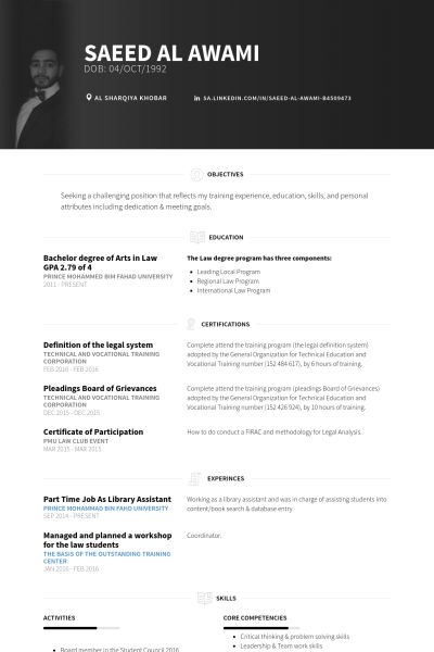 Part Time Resume samples - VisualCV resume samples database