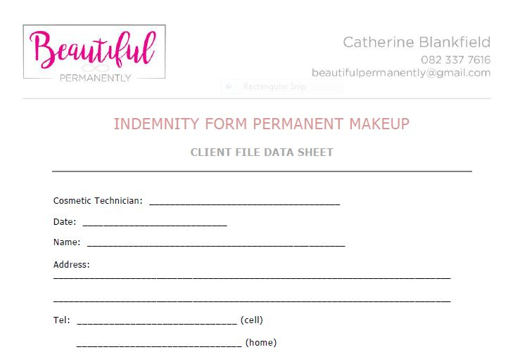 Indemnity and Price List - Beautiful PermanentlyBeautiful Permanently