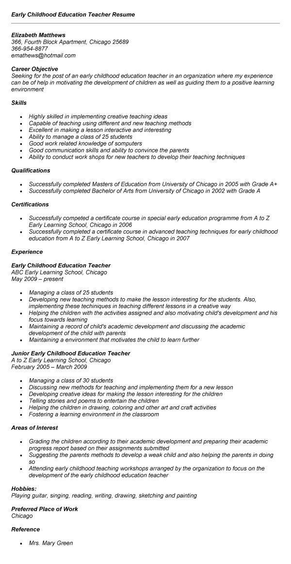 Early Childhood Educator Resume - Best Resume Collection