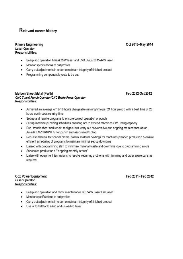 punch press operator resume - zaxa