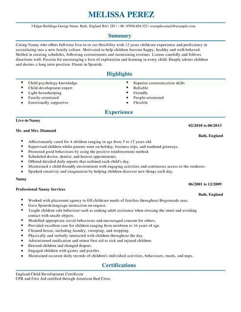Nanny CV Example for Personal Services | LiveCareer