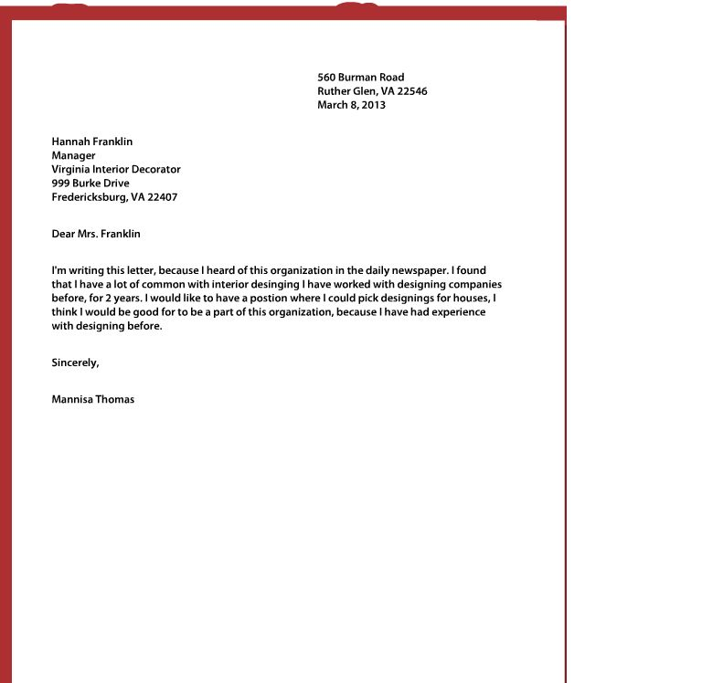 What a Good Cover Letter Should Look Like with What A Cover Letter ...