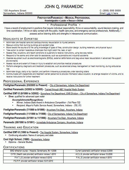 Paramedic Resume Sample, Free Resume Template, Professional ...