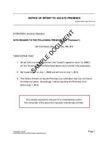 Notice of Intent to Vacate Premises (United Kingdom) - Legal ...