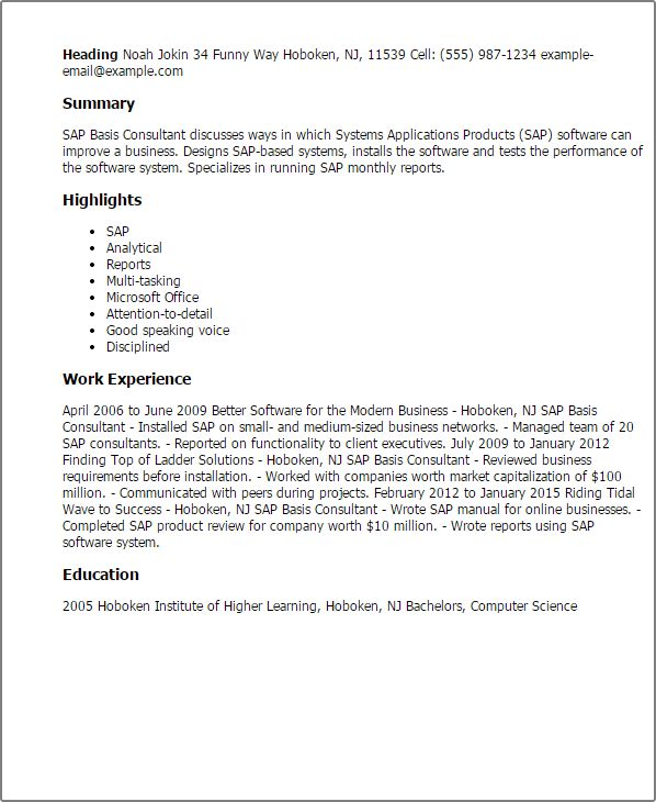 sap basis resume format sap basis administration cover letter