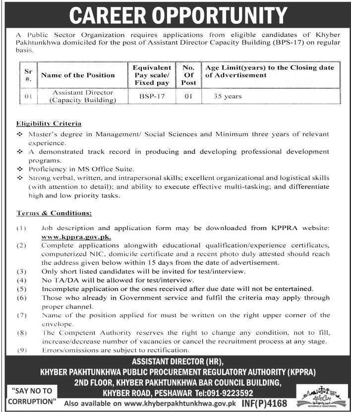 Jobs In Khyber Pakhtunkhwa Public Procurement Regulatory Authority ...