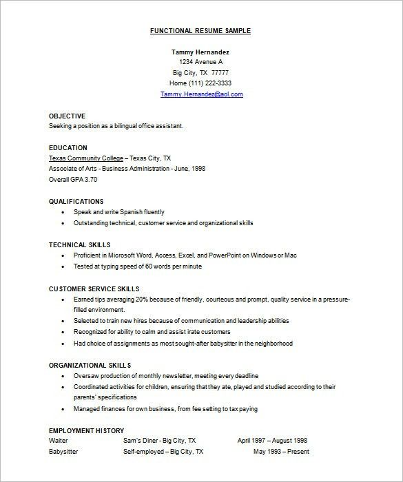 Functional Resume Templates Free