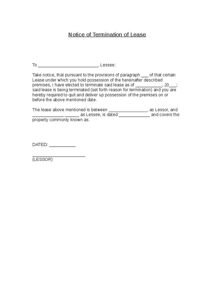 Notice of Termination of Lease - Hashdoc