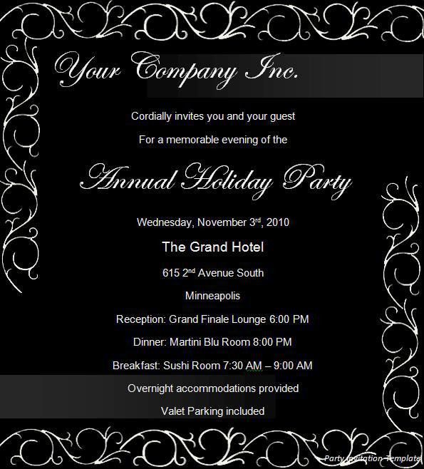 Free Party Invitation Templates - Word Excel Formats