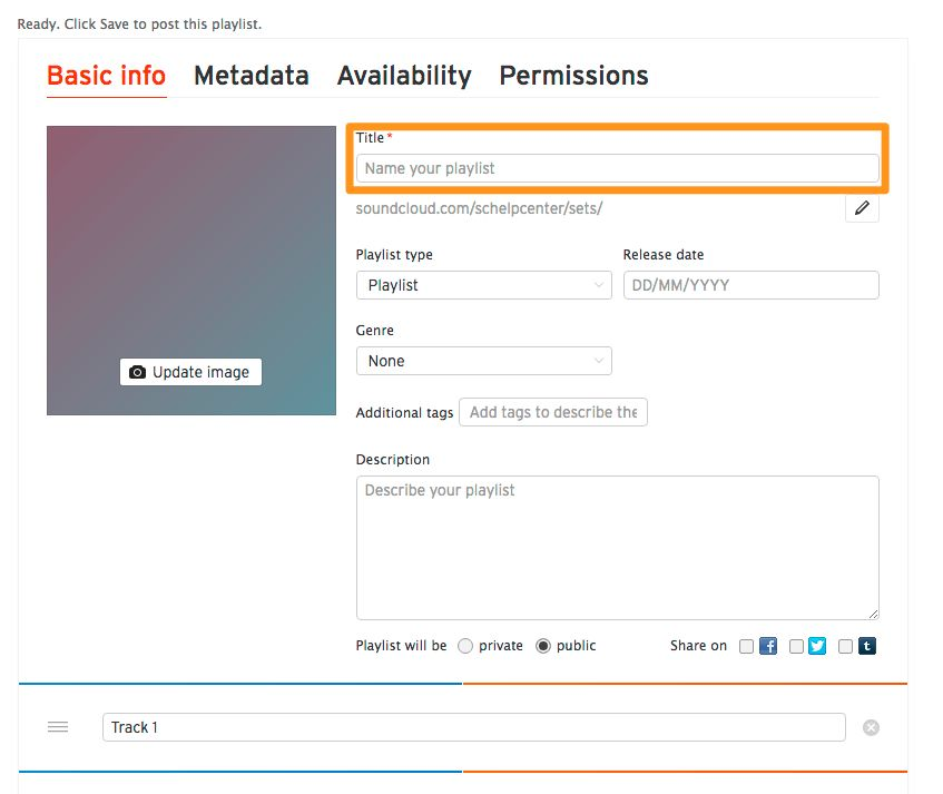 Adding a playlist title and URL when uploading – SoundCloud Help ...