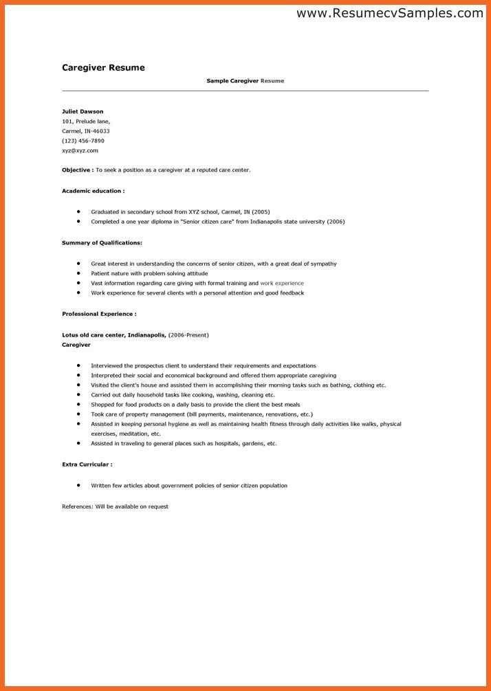 caregiver resume | sop example