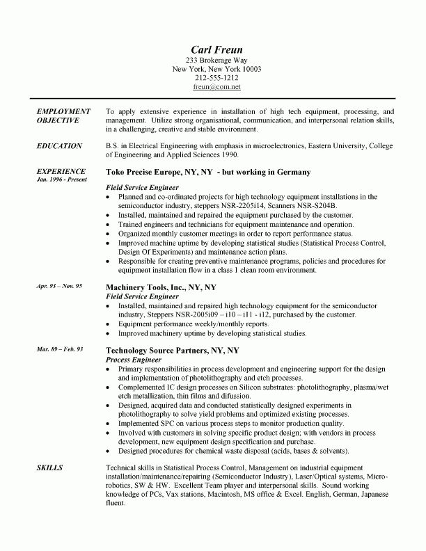 Field Engineer Resume Example: Engineering Sample Resumes