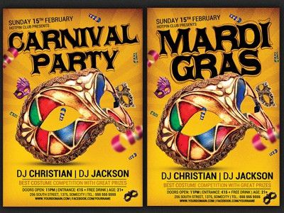 Carnival n Mardi Gras Party Flyer Template v4 by Christos ...