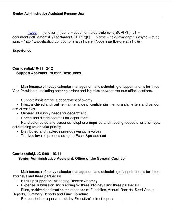 Administrative Assistant Resume - 14+ Free Word, PDF, PSD ...