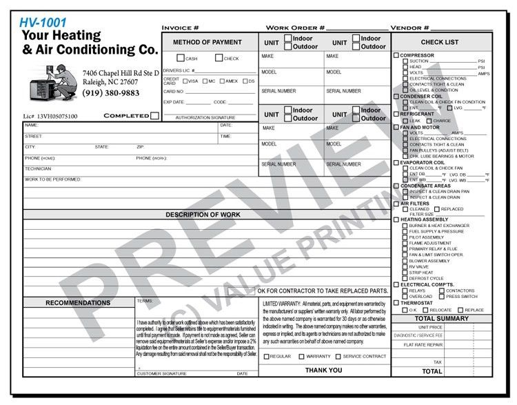 Free Design, Fast Shipping On HVAC Forms, HVAC Invoices U0026 Work .