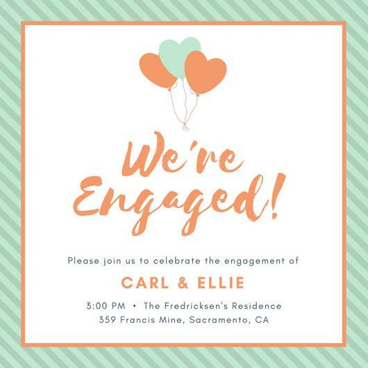 Pink and Turquoise Stripe Pattern Engagement Invitation ...