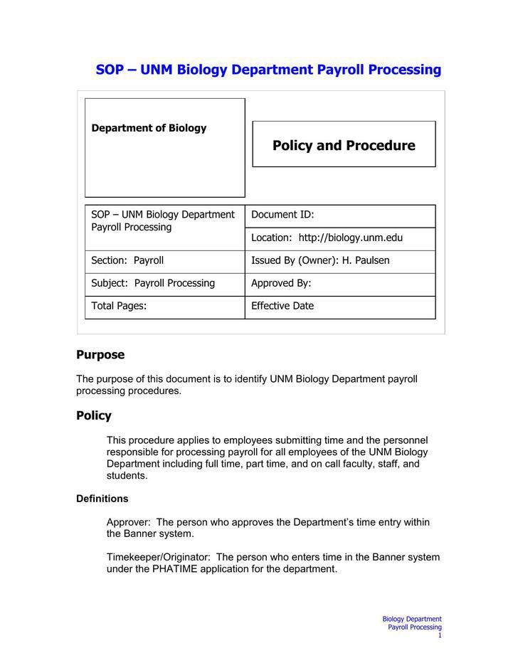Standard Operating Procedure Template | Download Free & Premium ...