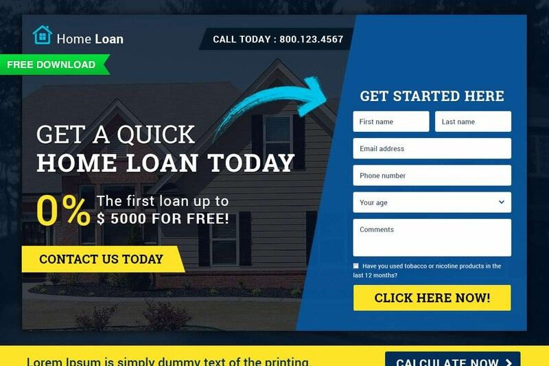 Free Download: Finance (Home Loan) Landing Page Template (PSD+HTML ...