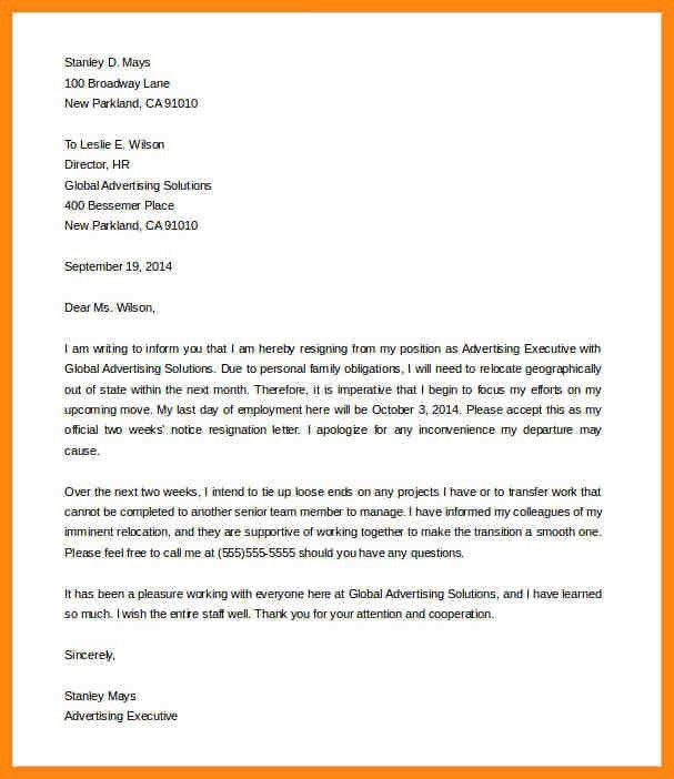 10+ example of 2 weeks notice letter   nurse resumed