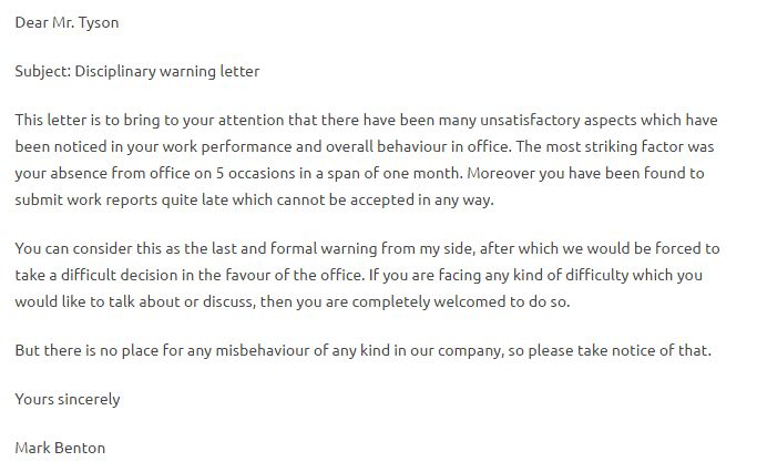 Warning Letter Format For Indiscipline - Writing Professional Letters