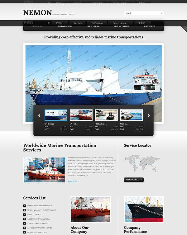 Shipping Company Website Template | Look at them and you won't ...