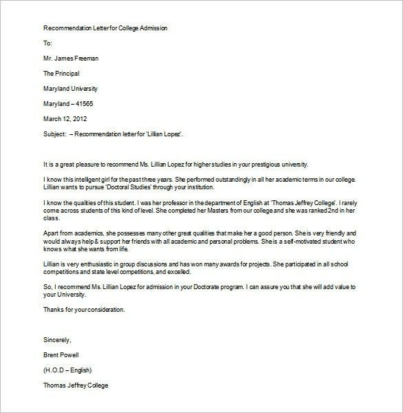 Sample Recommendation Letter For College | Template Design