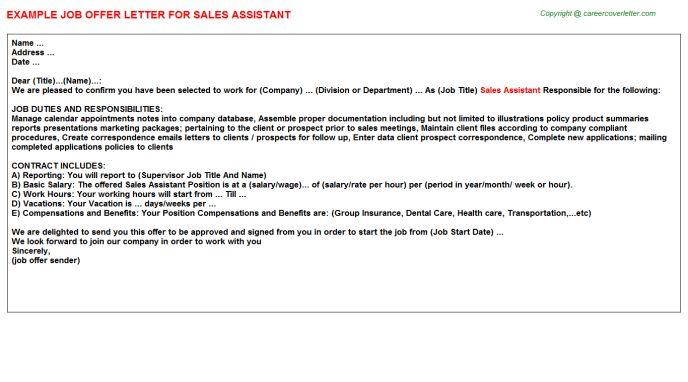 Sales Assistant Offer Letter