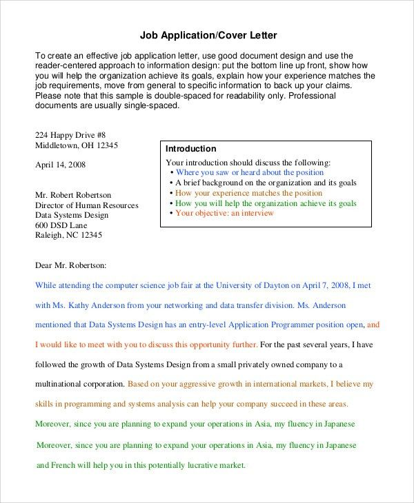 Sample Letter of Application - 9+ Examples in PDF, Word