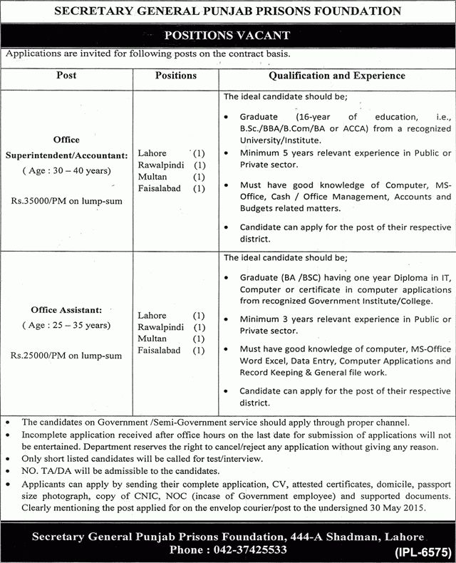 Punjab Prisons Foundation Jobs 2015 May Officer Superintendent ...
