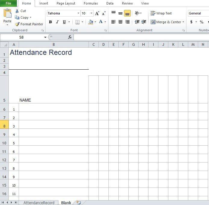 Daily Attendance Sheet Template - Ecordura.com
