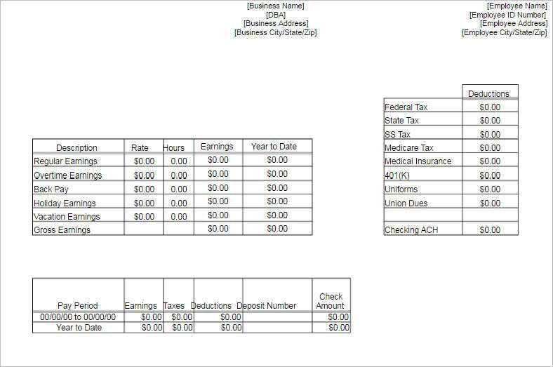 blank pay stub template pdf