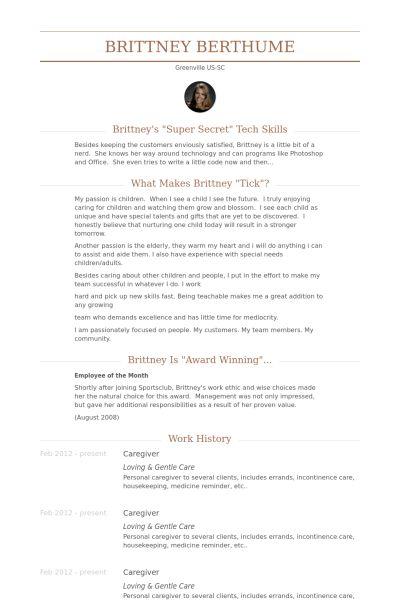 Caregiver Resume samples - VisualCV resume samples database