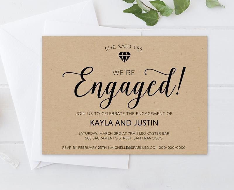 DIY Rustic Diamond Engagement Invitation Template | Engagement ...