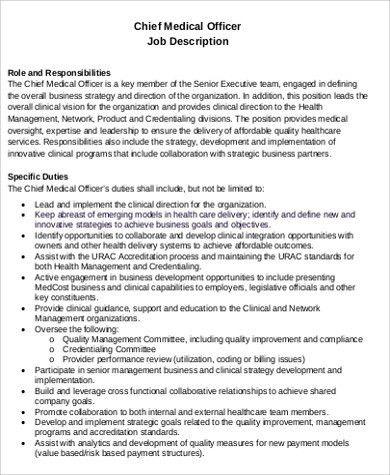 Medical Officer Job Description Sample - 12+ Examples in Word, PDF