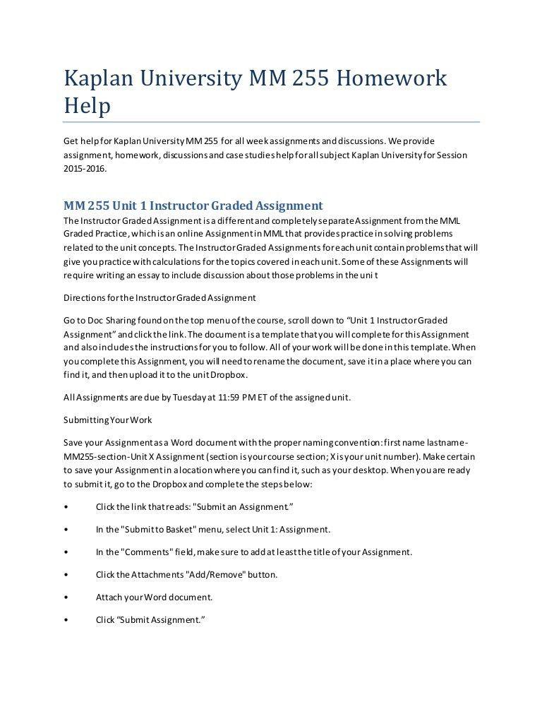Kaplan university mm 255 homework help