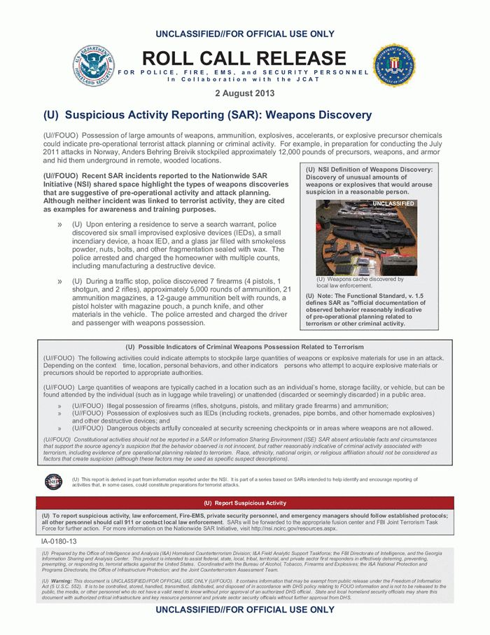 DHS-FBI Roll Call Release: Suspicious Activity Reporting (SAR ...