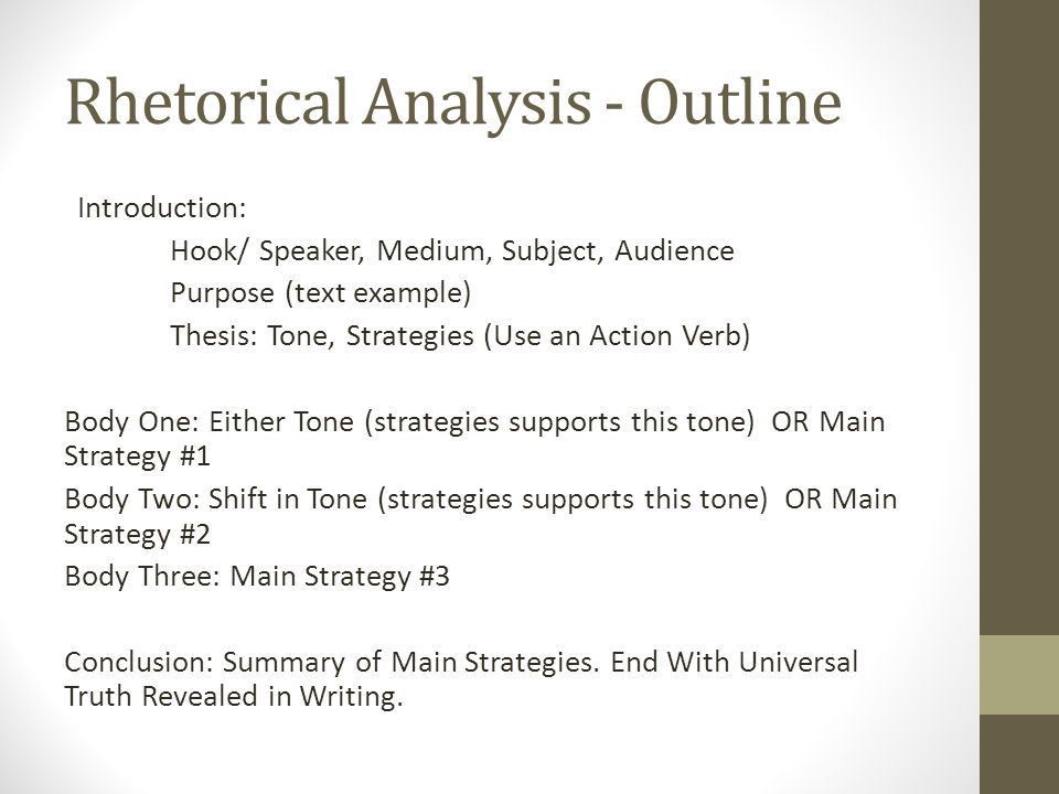 Finals Prep First semester AP Lang. Rhetorical Analysis - Outline ...