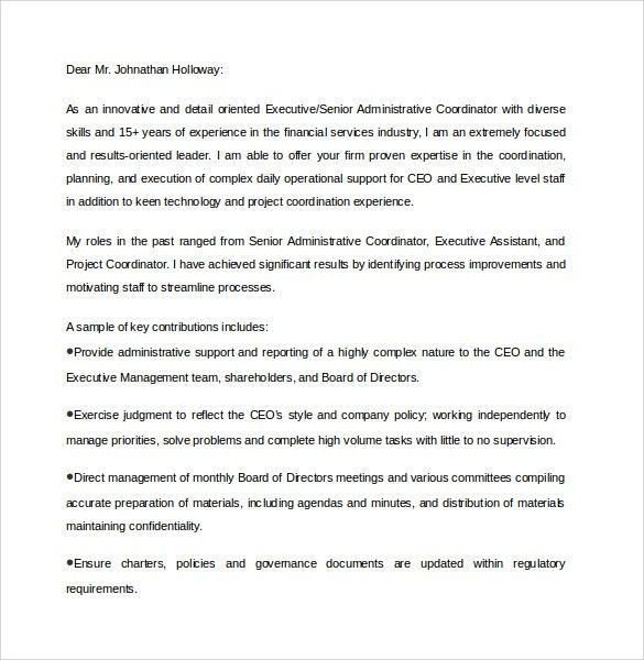 Sample Executive Assistant Cover Letter - 9+ Download Free ...