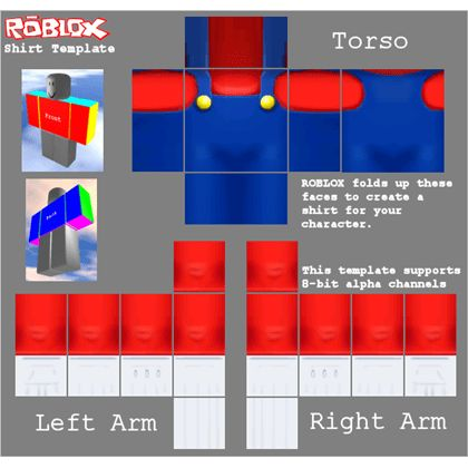 Super Mario Shirt Template - ROBLOX