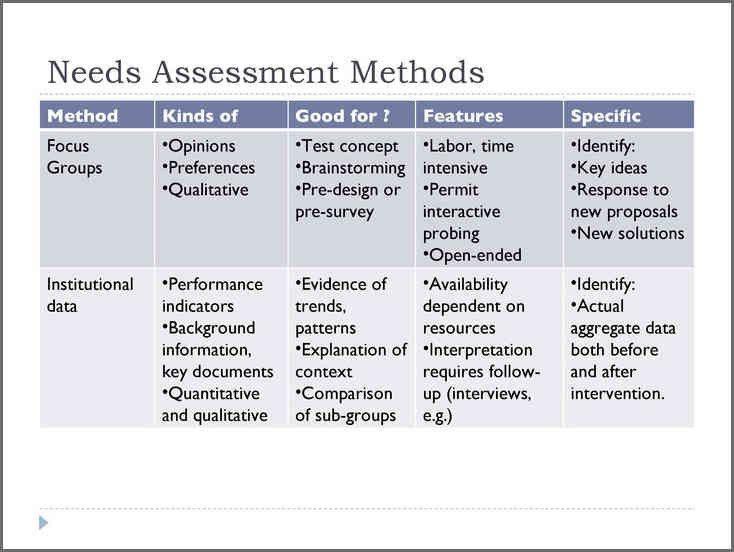 NEEDS ASSESSMENT EXAMPLE | Bidproposalform.com