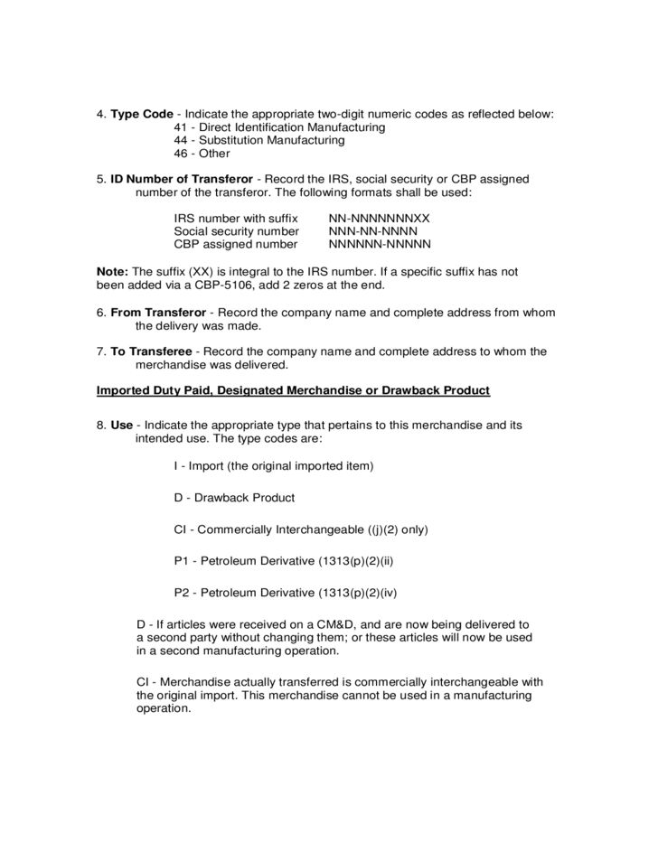 CBP Form 7552 - Delivery Certificate for Purposes of Drawback Free ...