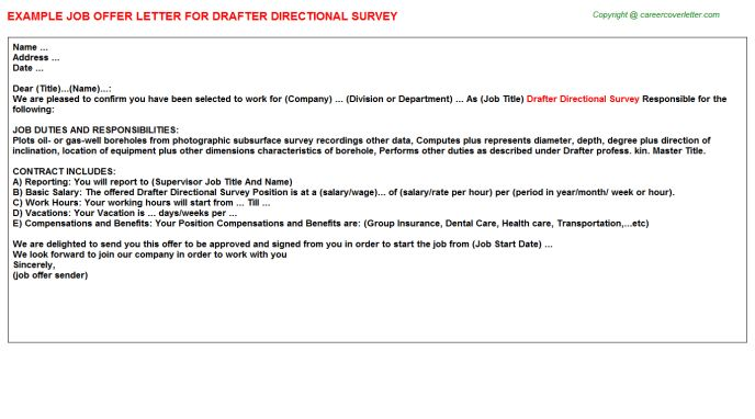 Directional Survey Drafter Offer Letters