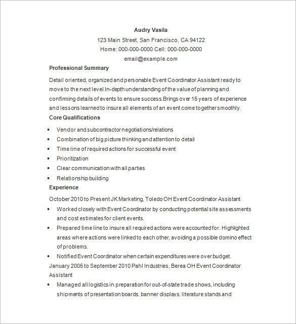Event Coordinator Resume Sample | jennywashere.com