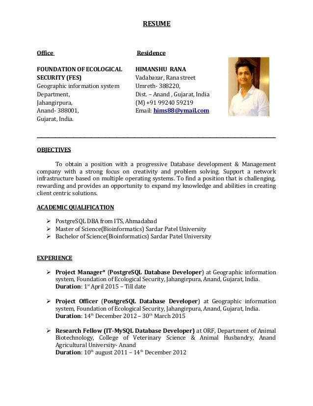 Oracle Dba Resume Sample India - Contegri.com