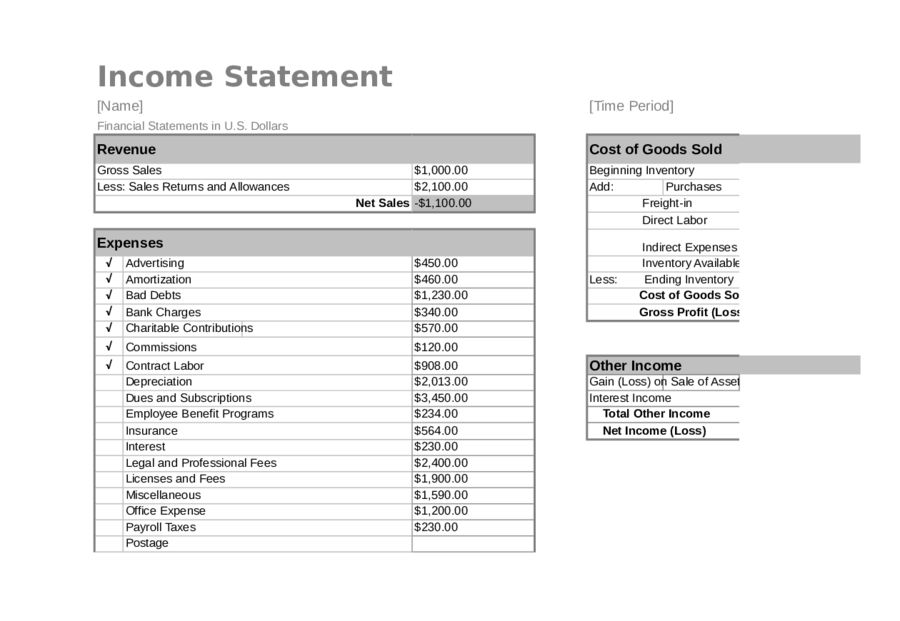 Income Statement Template - Free Printable Income Statement ...