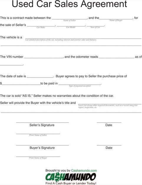 Doc.#482629: Vehicle Purchase Agreement Form Free Download ...
