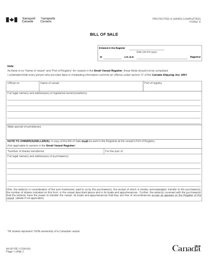 Vessel Bill of Sale Form - Canada Free Download