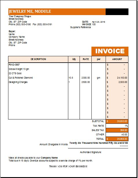 Ultrablogus Gorgeous Ms Excel Jewelry Invoice Template Excel ...