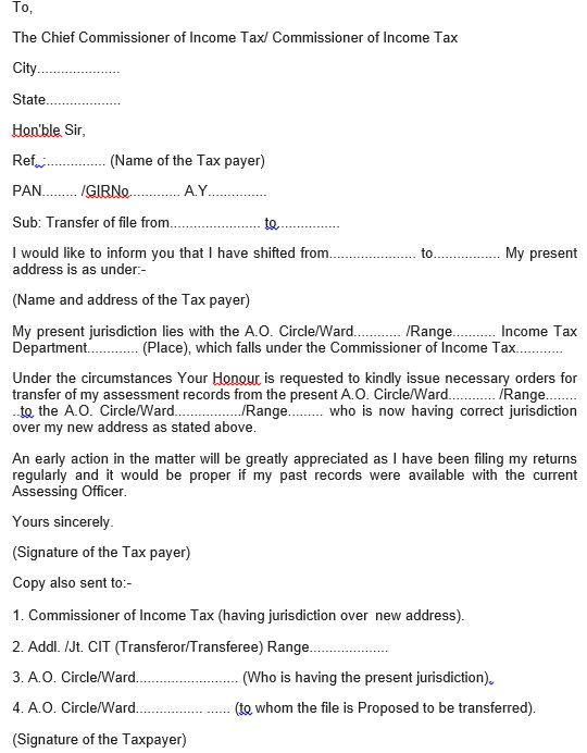Change Assessing Officer and Jurisdiction for Income Tax
