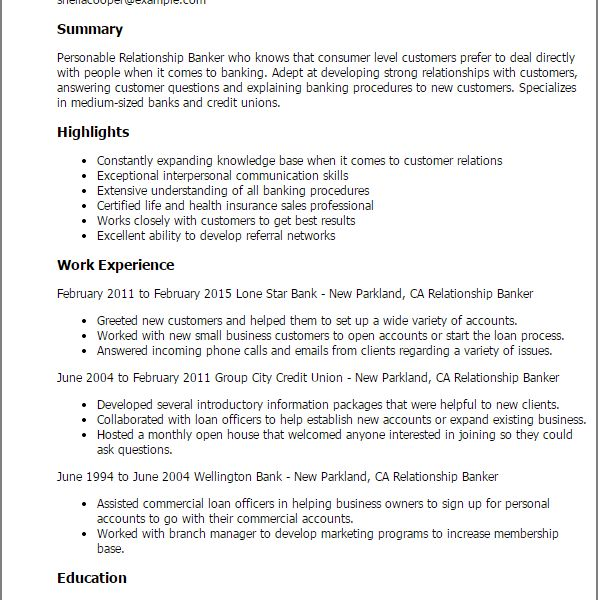 Cool Design Banker Resume 14 Professional Relationship Banker ...